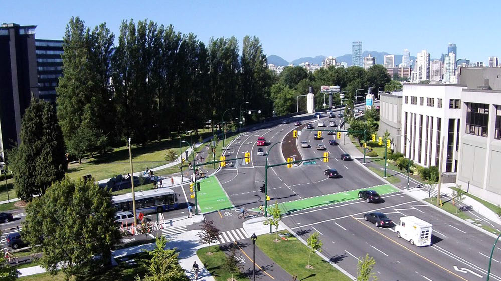Photo of a protected intersection