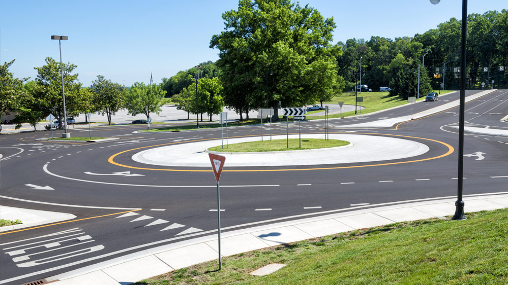 Photo of a typical modern roundabout